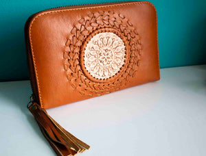 Tan Mandala Leather Purse - Boho Buffalo Accessories