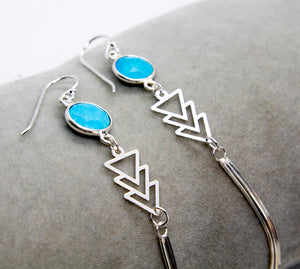 Aztec Turquoise Chevron Earrings - Boho Buffalo Accessories