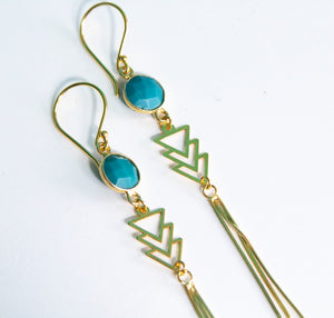 Gold Aztec Turquoise Chevron Earrings - Boho Buffalo Accessories