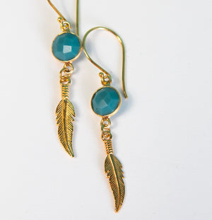Gold Slim Turquosie Feather Earrings