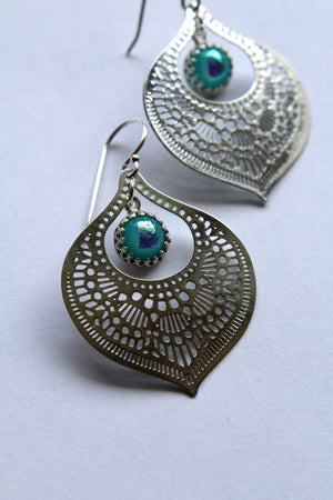 Silver Glass Teardrop Earrings