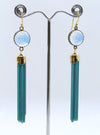 Turquoise Glass Tassel Earrings