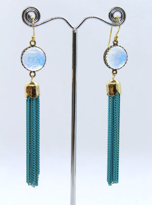 Turquoise Glass Tassel Earrings - Boho Buffalo Accessories