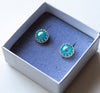 Framed Silver Glass Stud Earrings - Boho Buffalo Accessories