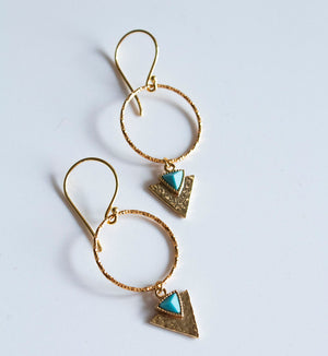 Gold Aztec Arrow Charm Earrings