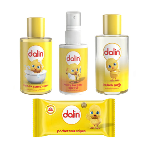 Dalin Travel Set - Shampoo, Oil, Detangling Spray, Pocket Wet Wipes