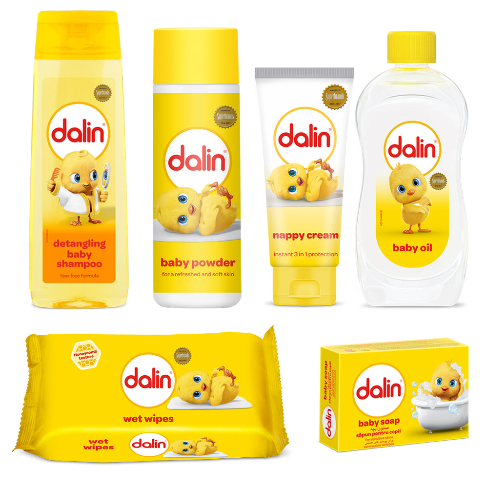 Dalin Baby Care | 6 Pieces Gift Set |  Baby Shampoo | Baby Oil | Baby Powder | Nappy Cream | 56 Baby Wipes | Baby Soap