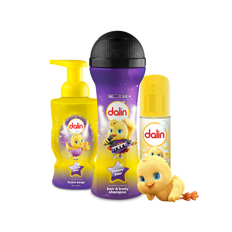 Dalin Toy Bottle Hair & Body Wash Shampoo 300ml, Baby Parfume(Cologne) , Hand Foam Soap - 300ml - 3pack Bundle