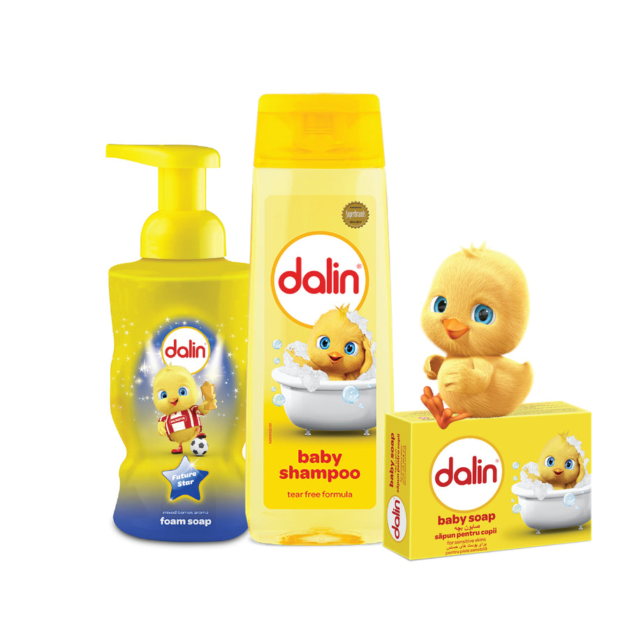 Dalin Hand Foam Soap, Mixed Berry 300ml - Dalin Baby Shampoo 200ml - Dalin Baby Soap 100g