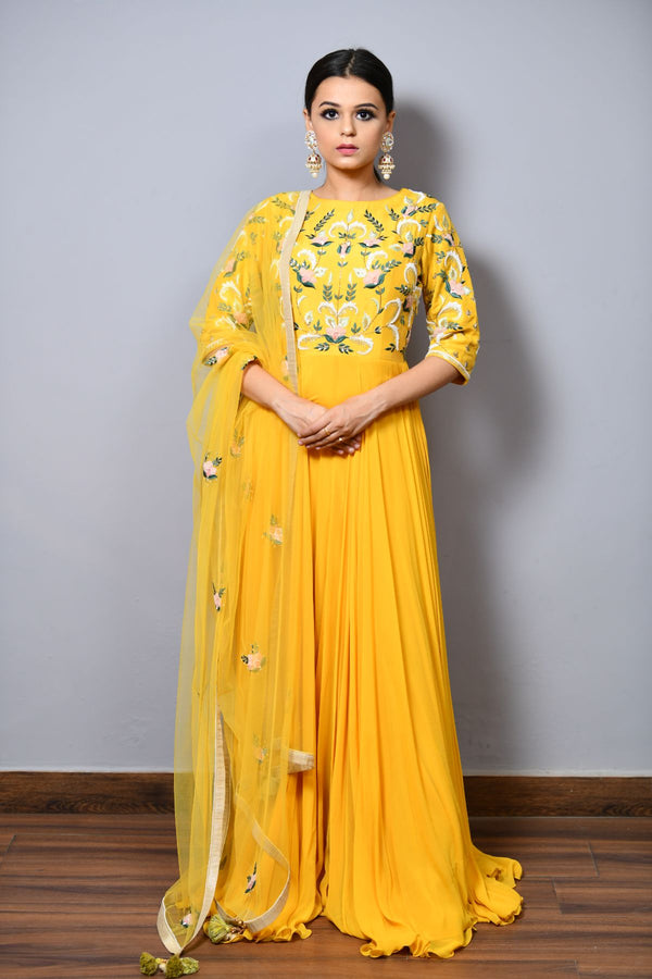 Anarkali Dress With Appliqué Work - Saisha