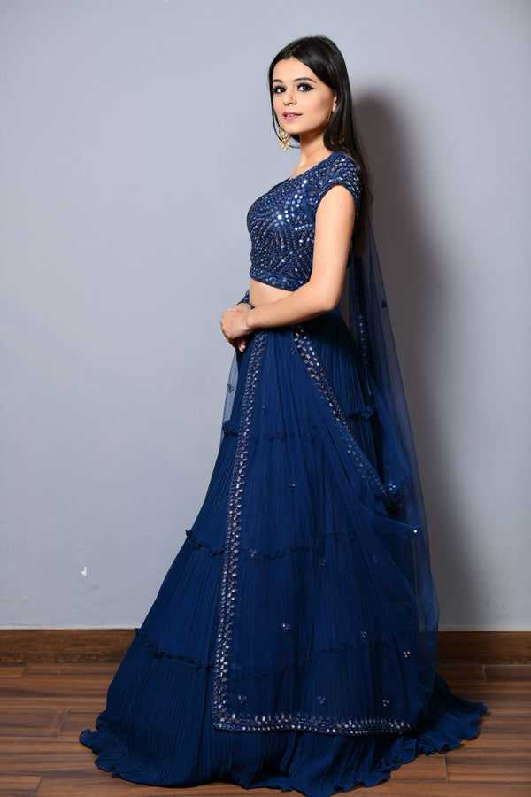 Layered Lehenga Choli And Dupatta - Saisha