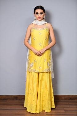 Strapy Straight Shirt With Sharara - Saisha