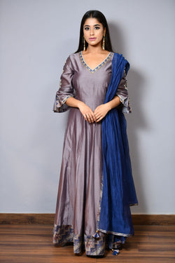 Anarkali With Sleeves Embroidery - Saisha