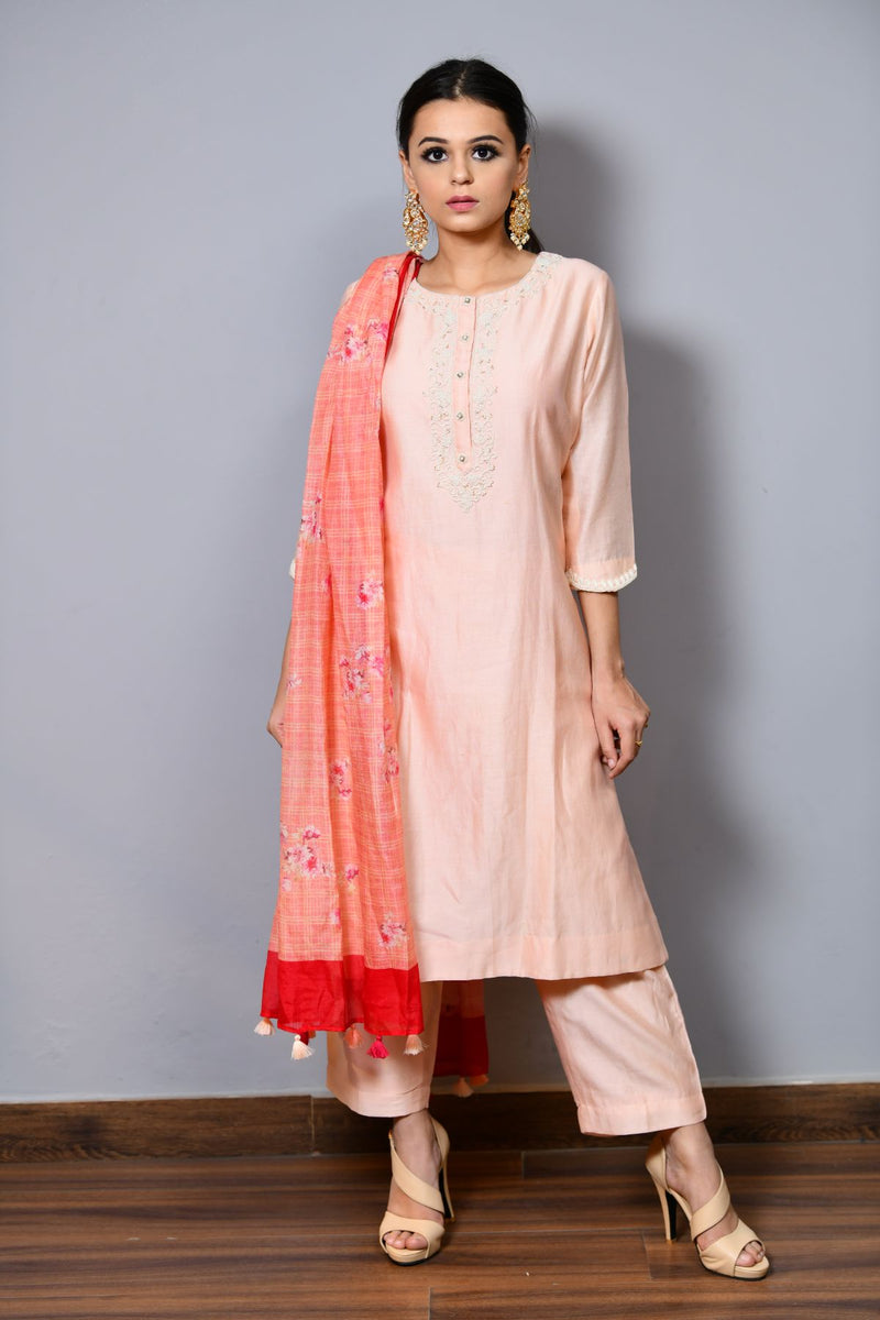 Straight Shirt With Printed Dupatta - Saisha
