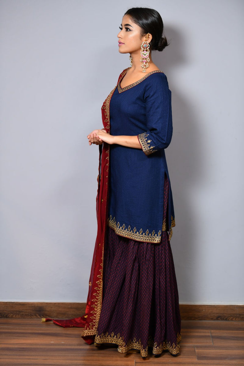 Straight Shirt With Sharara - Saisha