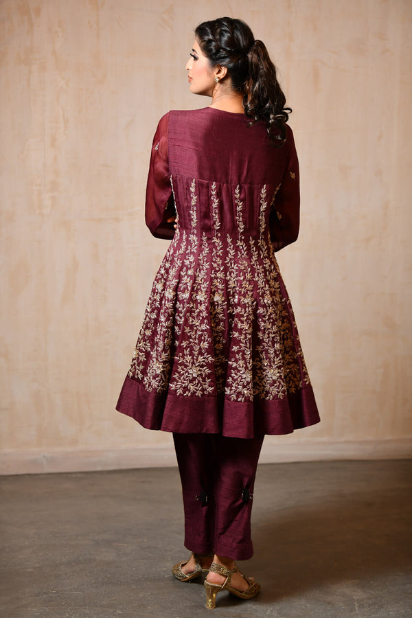 Wine Short Shirt Anarkali - Saisha