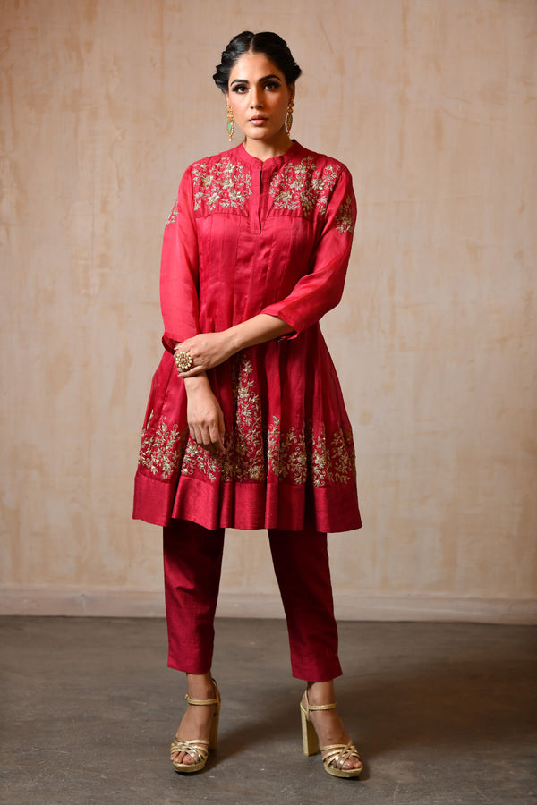 Fuschia Short Shirt Anarkali - Saisha