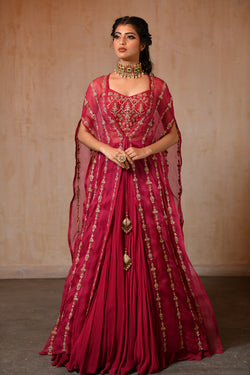 Plump Long Cape Lehenga Choli - Saisha