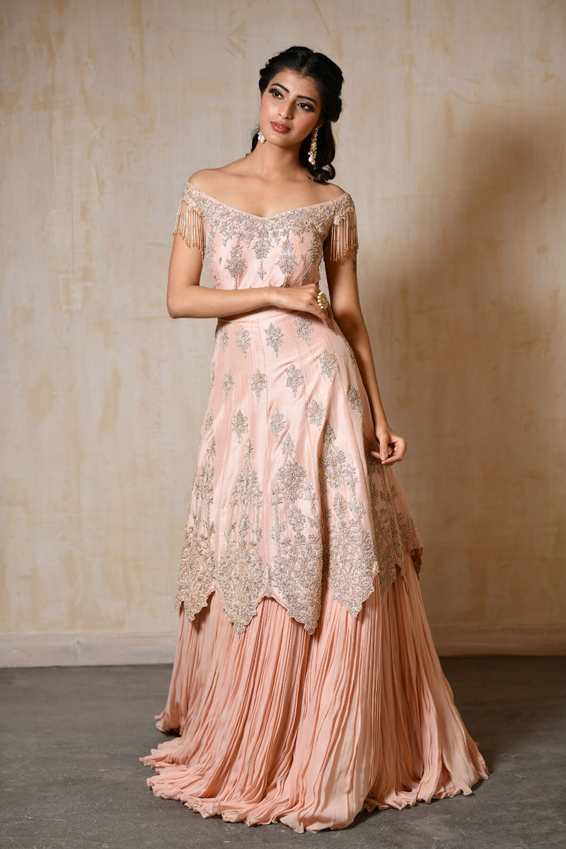 Off Shoulder Silk Gown With Attached Crushed Skirt - Saisha
