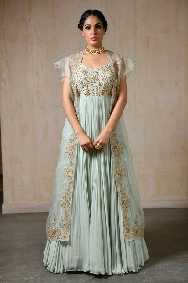Anarkali With Organza Jacket - Saisha