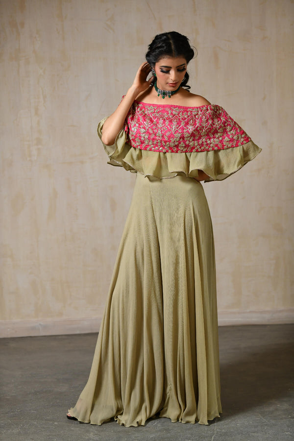 Fuchsia Silk Off Shoulder Cape - Saisha