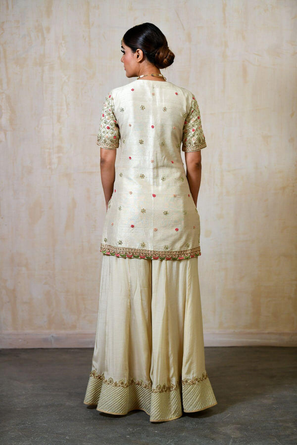 Silk Dori Work Sharara Shirt - Saisha