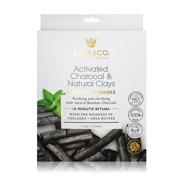 Activated Charcoal and Natural Clays Sheet Face Masks 5pack