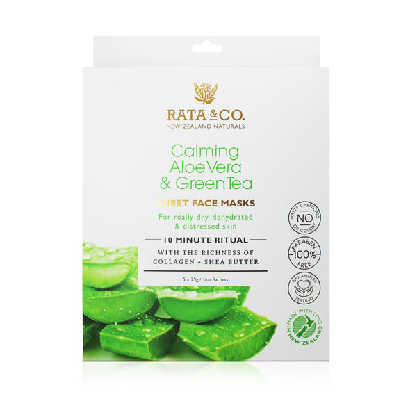 Calming Aloe Vera and Green Tea Sheet Face Masks 5pack