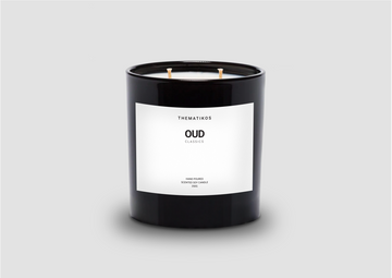 THEMATIKOS Oud Candle 350g - Black container | Deko International