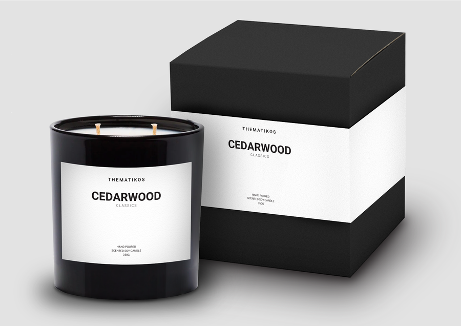 Thematikos Cedarwood Candle 350g and box packaging | Deko International