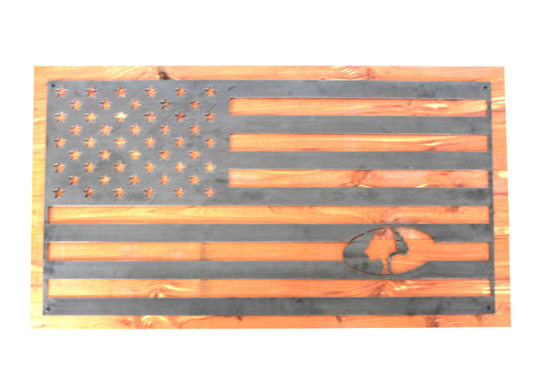 AMERICAN FLAG MOSSY OAK LOGO ON CEDAR