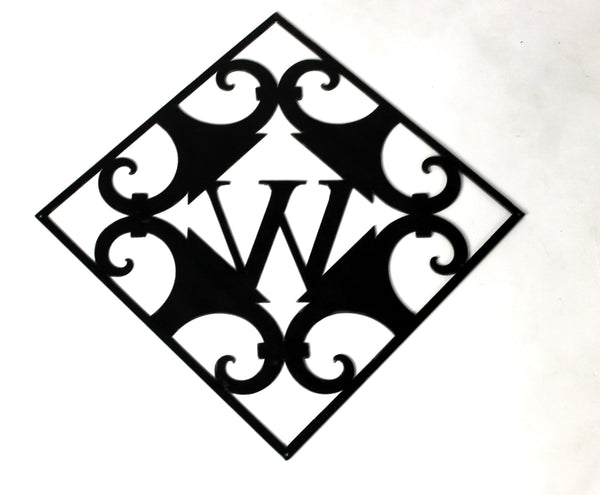 SQUARE SCROLL WITH INITIAL WALL ART