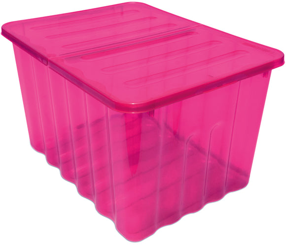 48L Storage Box Pink Tint W/Folding Lid