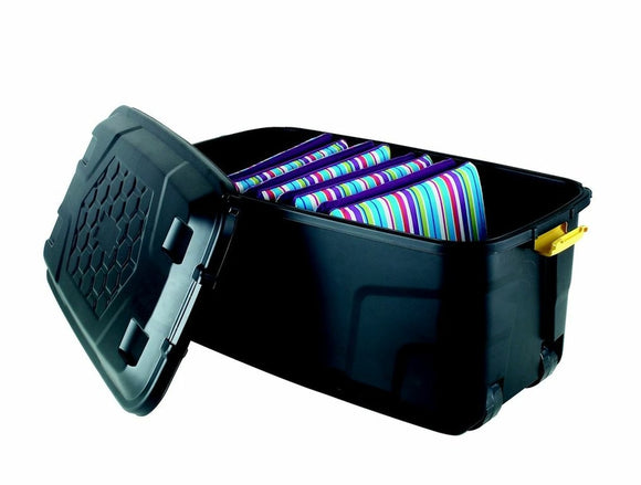 145L Storage Trunk W/Wheels Black