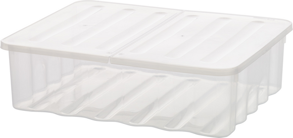 30L Underbed Storage Box Clear With Folding Lid