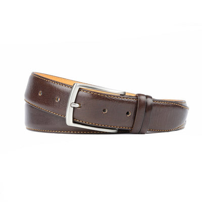 Ceinture Marron Couture Orange 35 mm-Ceintures-Norbert Bottier
