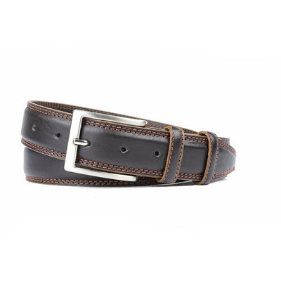 Ceinture Marron Double Couture Orange 35 mm-Ceintures-Norbert Bottier