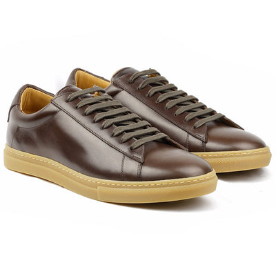 Sneaker Cuir Marron Patiné-Chaussures-Norbert Bottier