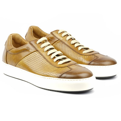 Sneaker Cuir Gold Patiné-Chaussures-Norbert Bottier