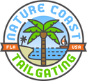 Nature Coast Tailgating Logo with palm tree and beach scene in blue and green