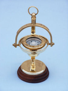 Solid Brass Hanging Compass 8""