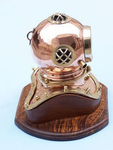Load image into Gallery viewer, Copper Decorative Divers Helmet Clock 12""