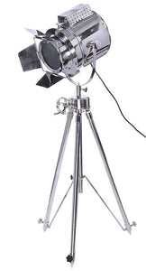 Nautical Chrome Searchlight with Tripod Stand Spot Light Studio Search Light Designer Floor Lamp