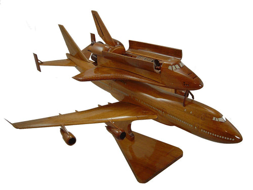 Shuttle piggy back on 747 in flight Mahogany Wood Desktop Airplane Model