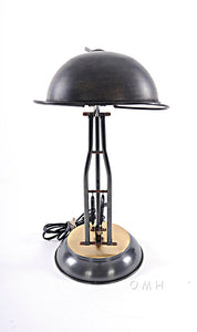 Brass Table Spring Lamp On Round Base