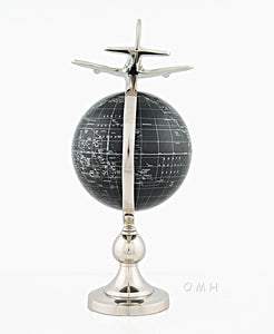 Airplane On Globe W Brass Stand