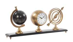 Armillery/Clock & Globe On Wood Base