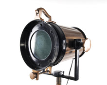 Load image into Gallery viewer, Antique search light with black antique wood tripod stand