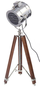Antique search ligtht with black antique wood tripod stand