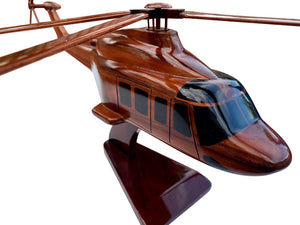 AW 139 Mahogany Wood Desktop Helicopter Model